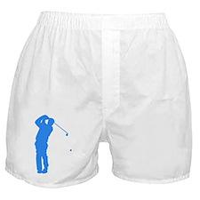 Blue Golfer Silhouette Boxer Shorts