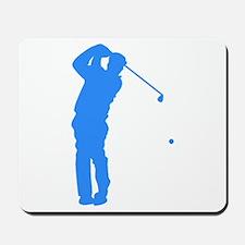 Blue Golfer Silhouette Mousepad