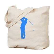 Blue Golfer Silhouette Tote Bag