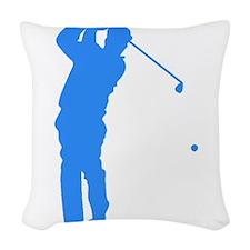 Blue Golfer Silhouette Woven Throw Pillow