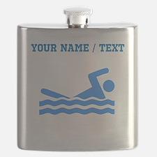 Custom Blue Swimmer Flask