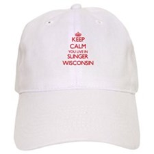 Keep calm you live in Slinger Wisconsin Baseball Cap