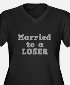 Married to a Loser Women's Plus Size V-Neck Dark T