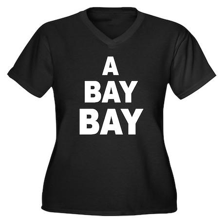 A Bay Bay Women's Plus Size V-Neck Dark T-Shirt