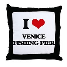 I Love Venice Fishing Pier Throw Pillow