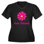 Junior Bridesmaid Women's Plus Size V-Neck Dark T-