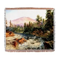 Mountain Cascade near Cisco, Califo Woven Blanket