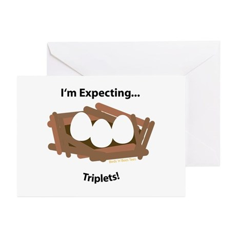 Expecting Triplets Greeting Cards (Pk of 10)