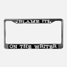 Blame the typewriter License Plate Frame