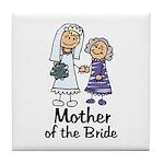 Cartoon Bride's Mother Tile Coaster