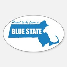 Blue State Massachusetts MA Oval Decal