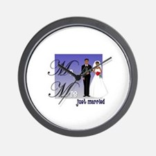 Mr. & Mrs. in Blue Wall Clock