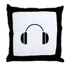 MUSIC HEADPHONES Throw Pillow