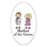 Cartoon Groom's Mother Oval Sticker