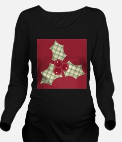Red Green Plaid Hollyhock Long Sleeve Maternity T-