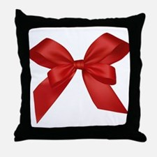Red Present Bow Throw Pillow