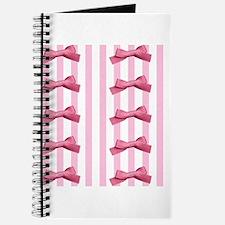 Bold Pink White Stripes Bows Journal