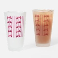Bold Pink White Stripes Bows Drinking Glass