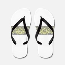 Yellow Gray Ornamental Border Flip Flops
