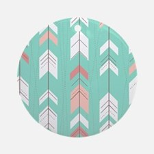Pink Mint Arrows Pattern Ornament (Round)