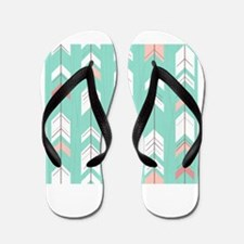 Pink Mint Arrows Pattern Flip Flops
