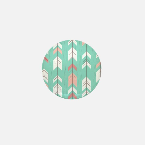 Pink Mint Arrows Pattern Mini Button