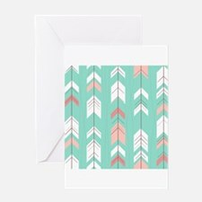 Pink Mint Arrows Pattern Greeting Cards