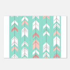 Pink Mint Arrows Pattern Postcards (Package of 8)