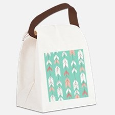 Pink Mint Arrows Pattern Canvas Lunch Bag
