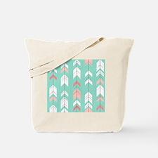 Pink Mint Arrows Pattern Tote Bag