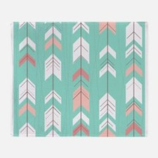 Pink Mint Arrows Pattern Throw Blanket