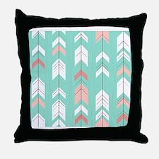 Pink Mint Arrows Pattern Throw Pillow