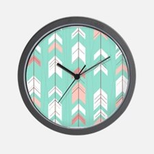 Pink Mint Arrows Pattern Wall Clock