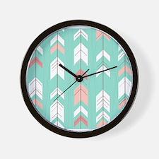 Pink Mint Arrows Pattern Wall Clock