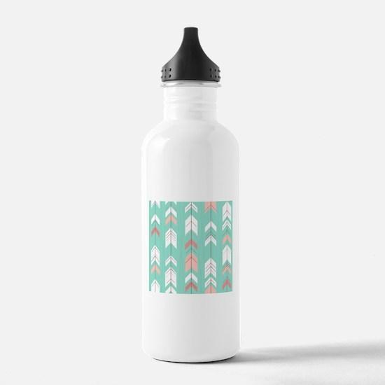 Pink Mint Arrows Pattern Water Bottle