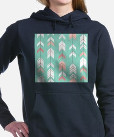 Pink Mint Arrows Pattern Women's Hooded Sweatshirt