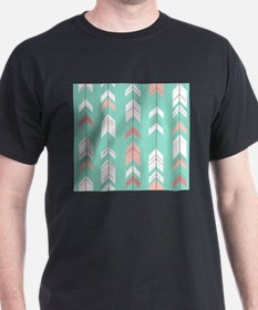 Pink Mint Arrows Pattern T-Shirt