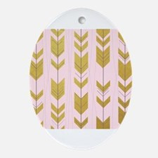 Pink Gold Arrows Pattern Ornament (Oval)
