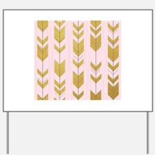 Pink Gold Arrows Pattern Yard Sign