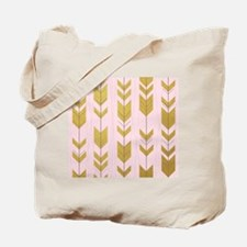Pink Gold Arrows Pattern Tote Bag