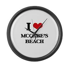 I Love Mccabe'S Beach Large Wall Clock