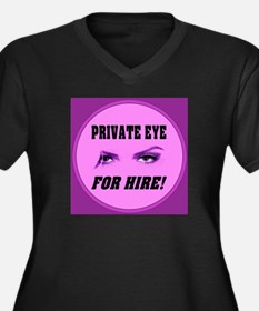 Private Eye For Hire Emblem P Women's Plus Size V-