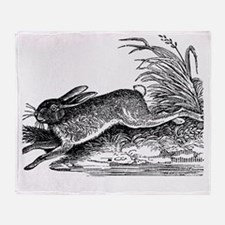 Antique Woodcut Engraving of Rabbit Throw Blanket