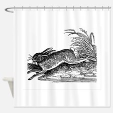 Antique Woodcut Engraving of Rabbit Shower Curtain