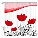 Red Tulip Swirls Shower Curtain