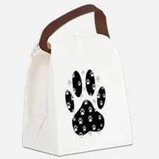 White Paws All Over Black Paw Pri Canvas Lunch Bag