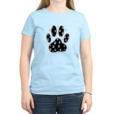White Paws All Over Black Pa T-Shirt