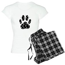 White Paws All Over Black P Pajamas