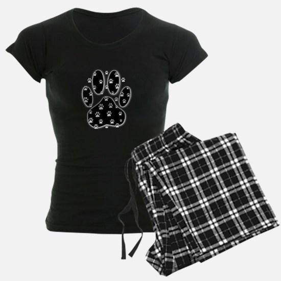 White Paws All Over Black Pa pajamas
