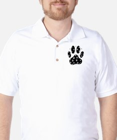 White Paws All Over Black Paw Print T-Shirt